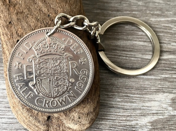 1958 or 1959 half crown keyring, British coin keychain, english 60th or 61st birthday, anniversary or retirement gift for a man or woman