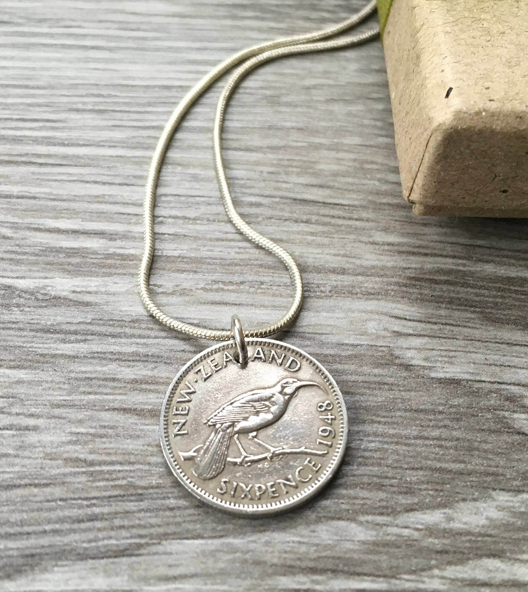 70th Birthday Gift 1948 New Zealand Sixpence Coin Necklace Lucky