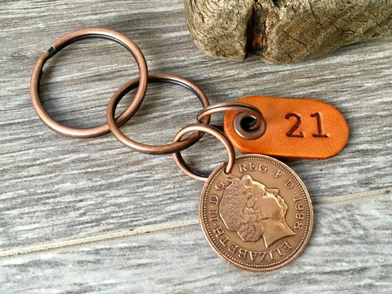 21st birthday or anniversary gift, 1998 UK coin keychain, keyring or clip