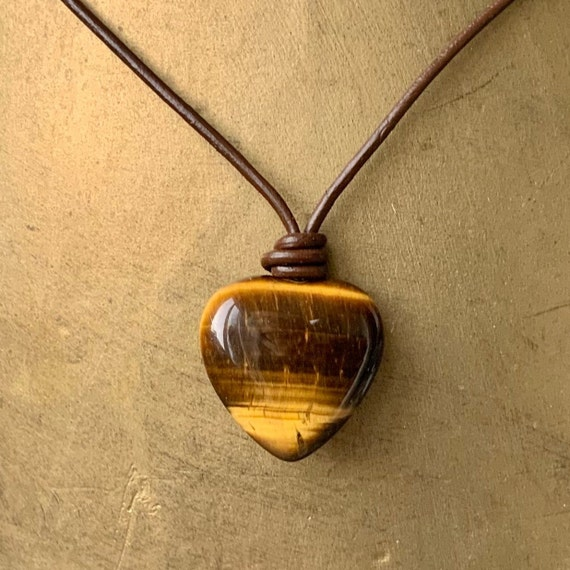 Tigers eye heart adjustable necklace on leather or cotton cord, simple boho gemstone jewellery