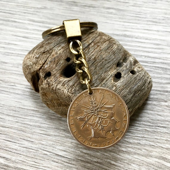French coin keyring, choose coin year, 10 franc, France Key chain or clip, 40th birthday gift or anniversary present for a man or woman