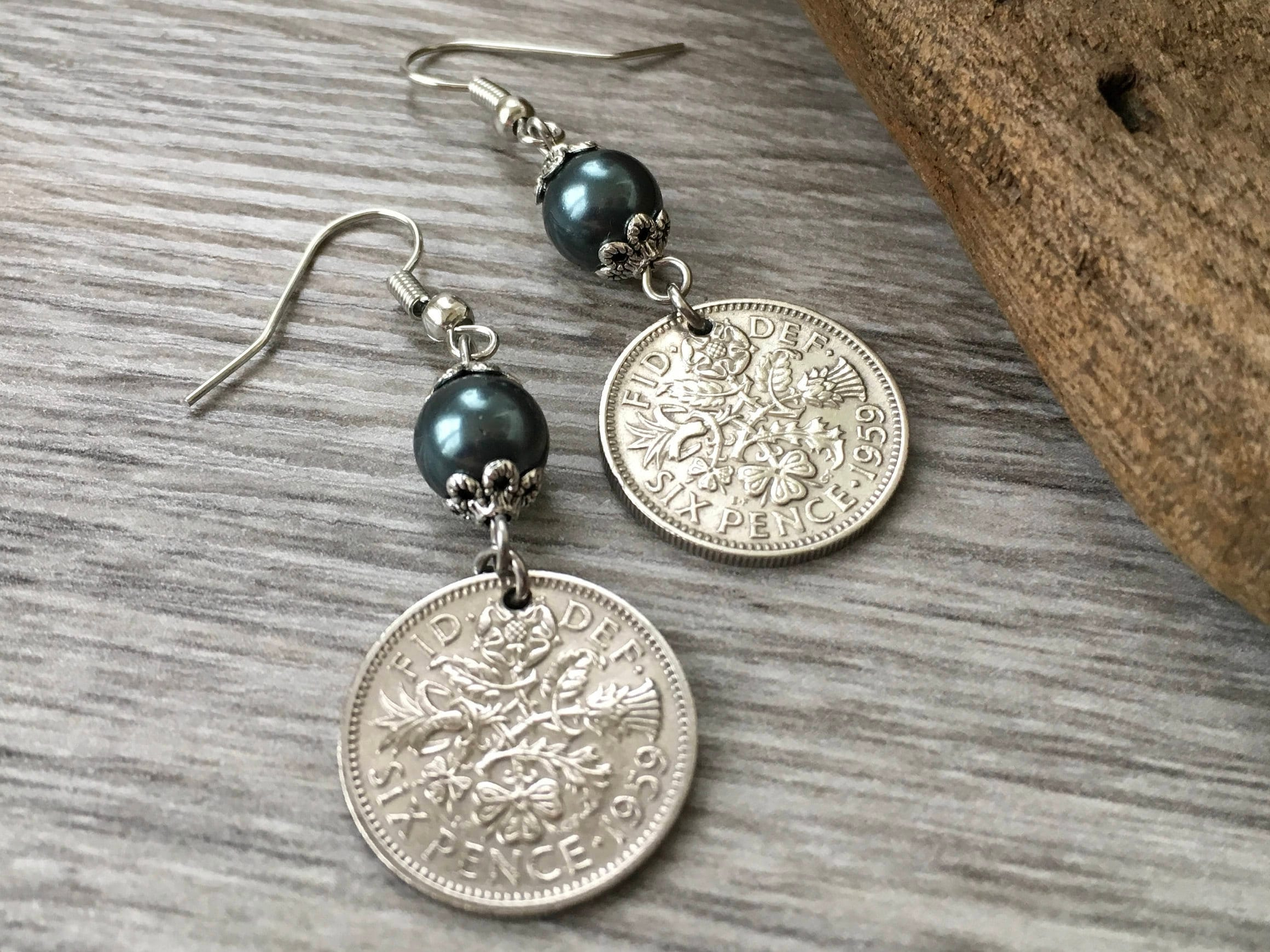 60th Birthday Gift 1959 British Sixpence Earrings Pretty English Coin