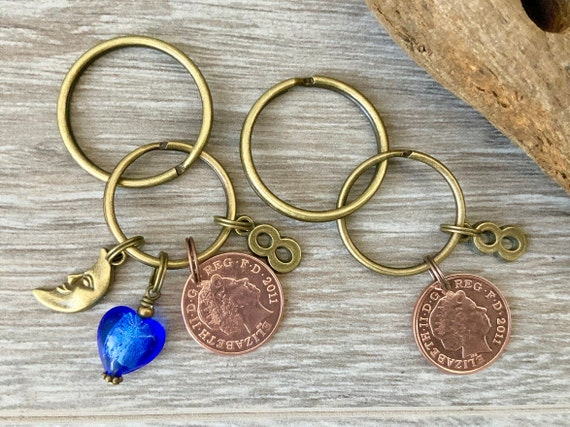 8th anniversary gift, 2011 wedding, bronze anniversary, couples present mr and mrs gift 2 keyrings pair of keychains, lucky pennies