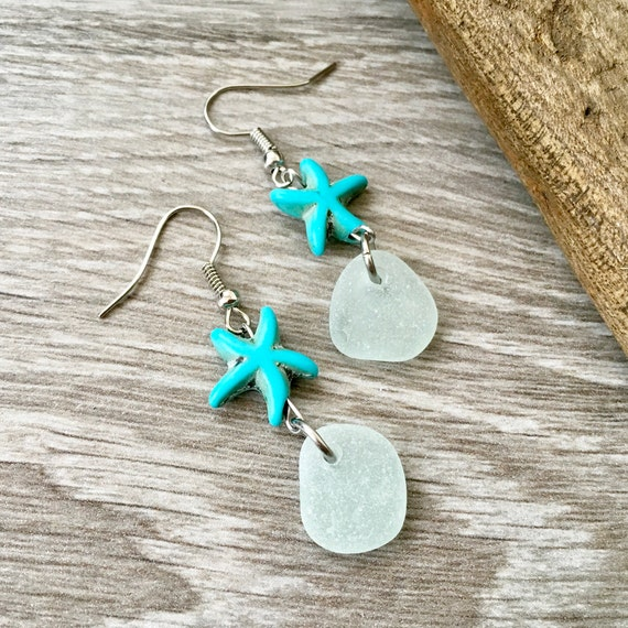 Sea glass and starfish earrings, a turquoise  starfish, frosted sea glass with stainless steel ear wires, boho beach jewelry
