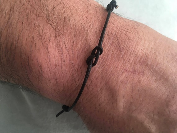 Leather infinity knot bracelet, simple adjustable jewellery for men or women, a perfect valentines gift