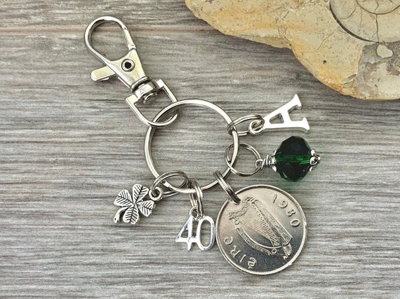 Irish Birthstone charm clip, 1980 coin keyring or bag clip, choice of initial and birthstone colour, 40th birthday or anniversary gift woman