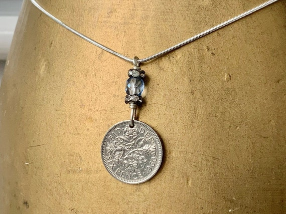 sixpence pendant necklace, choose coin year, 1958, 1959 or 1960 English, 60th birthday gift, British anniversary gift woman, mum, grandma