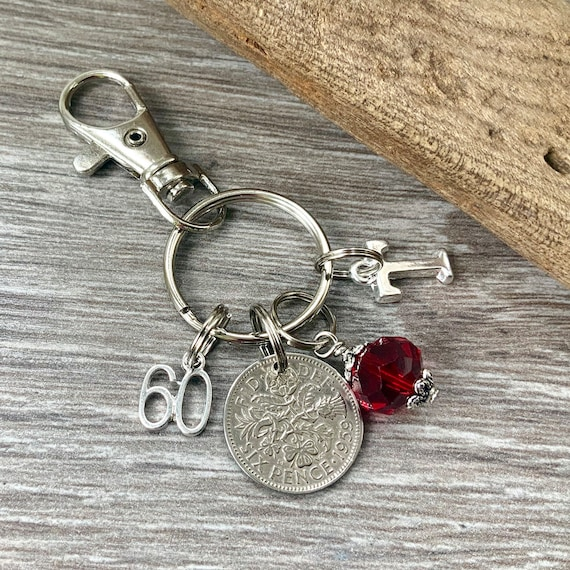 60th birthday gift, birthstone charm, 1959 sixpence keyring or bag clip, choose initial and birthstone colour