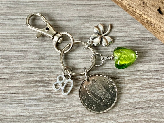 1940 Irish sixpence key ring or charm clip, a perfect 80th birthday gift