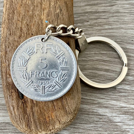 70th birthday gift, French coin key ring, key chain, made using a 1950 5 franc from France