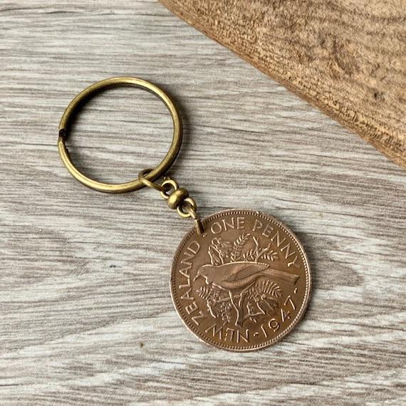 New Zealand 1947 penny keyring or clip, tui bird keychain, pretty NZ coin key fob