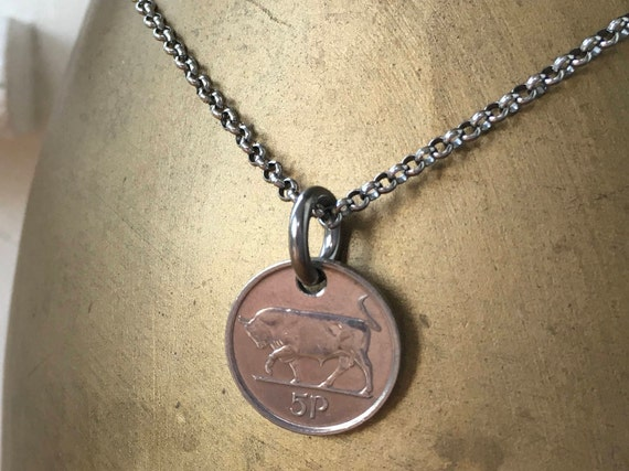 1995 or 1996 Irish coin necklace, masculine jewellery, choose coin year Taurus bull stainless steel pendant anniversary present