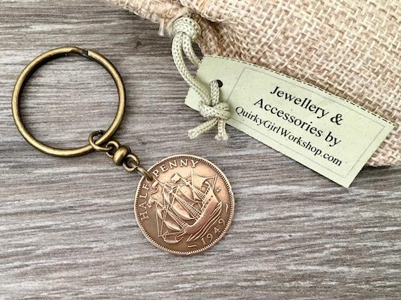 70th or 71st birthday gift, 1948 or 1949 British coin keychain, English halfpenny, sailing ship keyring, present for him, man, dad, grandad