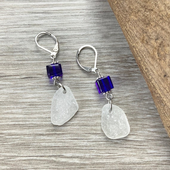 Sea glass and blue bead earrings, boho beach, stainless steel lever back, beach glass jewellery, unusual blue earrings, mermaid gift woman