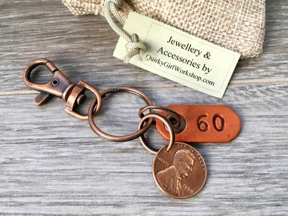 60th birthday gift, 1959 USA coin keychain, American one cent keyring, lucky penny clip, anniversary, present for a man or woman