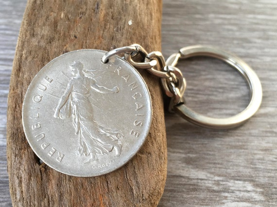 French 5 franc coin Keyring Choose coin year for a perfect retirement, anniversary present for a man