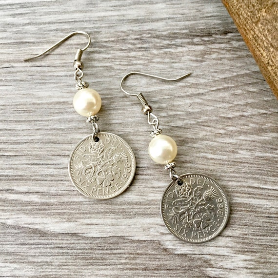 53rd or 54th birthday gift 1965 or 1966 British sixpence earrings, English coin Jewellery retirement present for her woman, anniversary wife