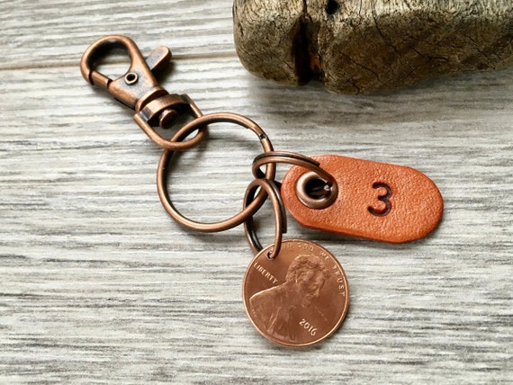3rd anniversary gift, 2016 USA coin keyring, United States one cent keychain, Leather wedding Anniversary three years, lucky penny clip