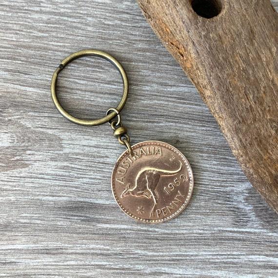 1952, 1953 or 1955 Australian kangaroo penny keychain, choose coin year