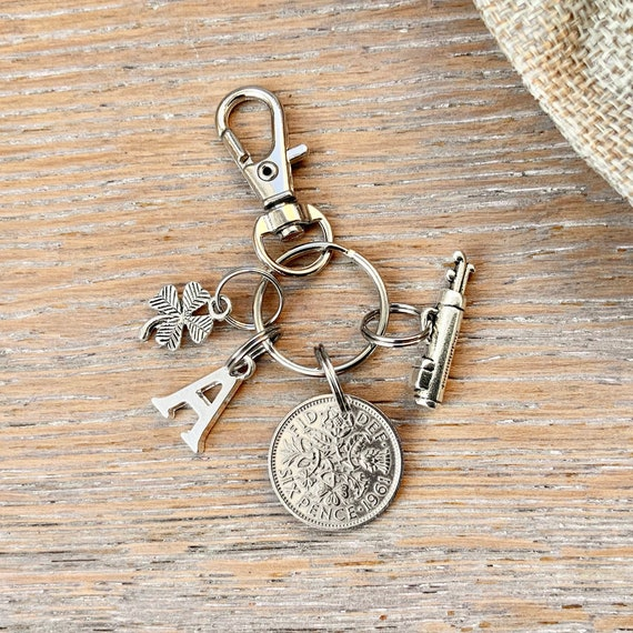 Lucky golfing charm sixpence bag clip, choose initial and coin year for a thoughtful birthday or anniversary gift