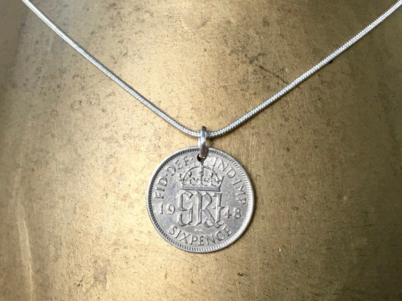 1948 or 1947 sixpence necklace lucky coin pendant, 72nd or 73rd birthday gift, English British present for her, woman, 925, sterling silver