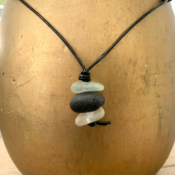 Stacked Sea glass pendant necklace, handmade using Cornish beach glass and an adjustable black leather