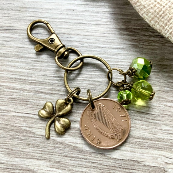 1971 Irish penny bag charm clip, a perfect 50th birthday gift or Anniversary present