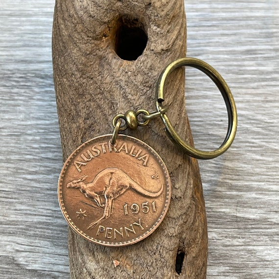 1951 Australian penny keychain, keyring or clip