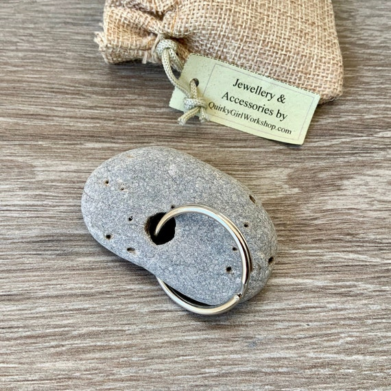 Hag stone keyring, Pebble with a natural hole keyring, rock key chain handmade using a stone found on the beach in Cornwall, mens small gift