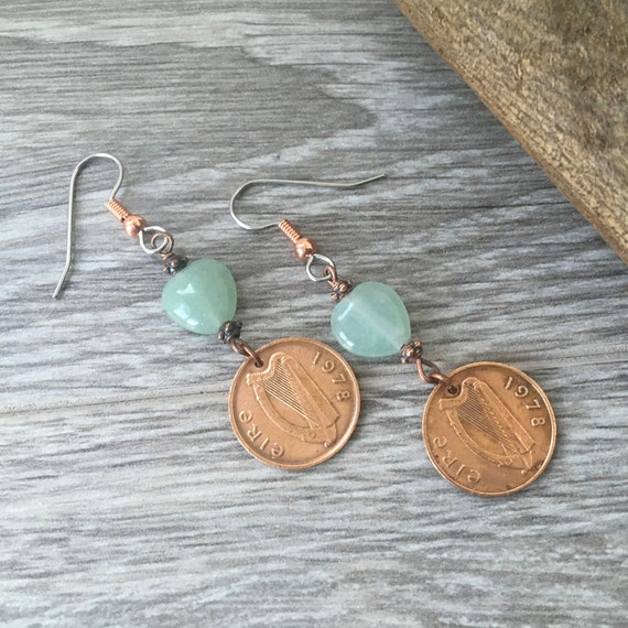 Irish coin long dangle earrings, 1971, 1975, 1978, 1980 or 1982 choose coin year, Ireland half penny, birthday or anniversary,