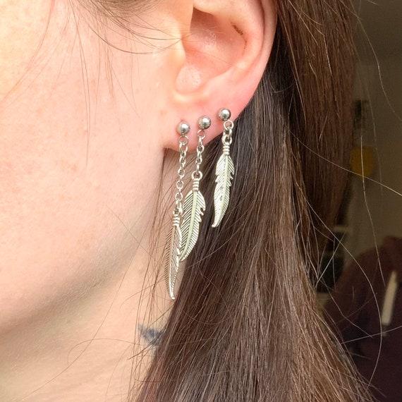 Feather dangle earrings, set of three feather earrings, short, medium and long earrings, stainless steel ball stud earring