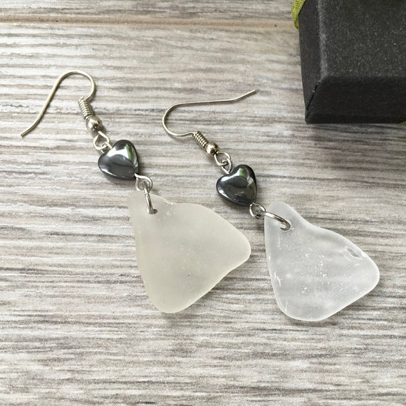 Genuine Sea glass hematite heart earrings, beach boho jewellery, unusual gift for a woman,