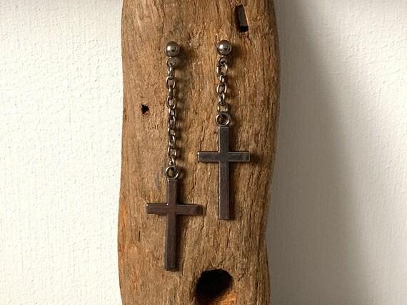 Asymmetric Cross earrings, Long dangle Mismatched gunmetal earrings, for men or women
