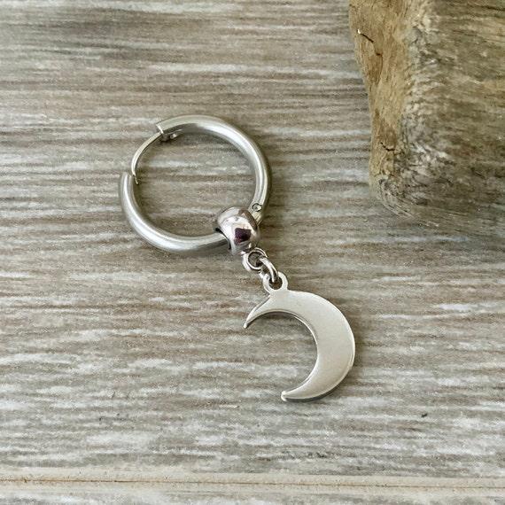Thick hoop moon earring, choose between a single earring or a pair of earrings, crescent stainless steel jewellery