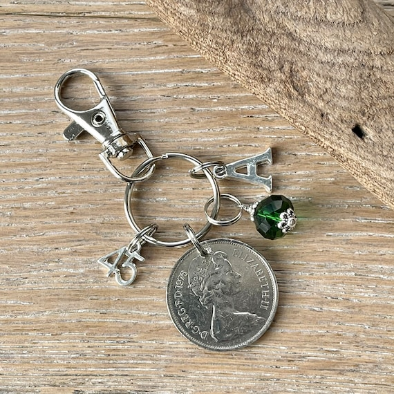 45th Birthstone Birthday gift, 1976 British ten pence coin charm bag clip, choice of initial and charm colour, 45th anniversary gift