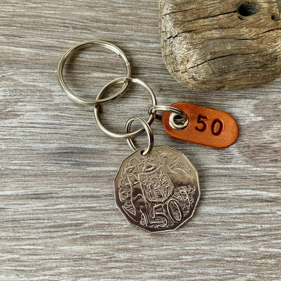 50th birthday gift or anniversary present for a man or woman, 1969 Australian 50 cent coin keyring, keychain or clip,