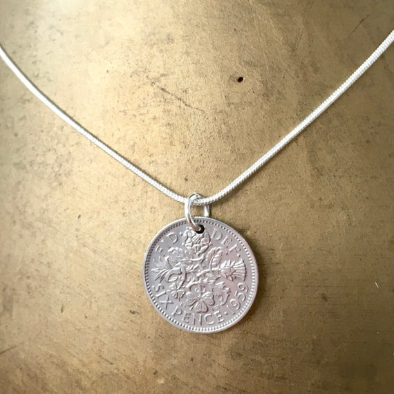60th birthday gift, 1959 or 1960 Lucky Sixpence necklace, British coin pendant, UK good luck anniversary present for a woman