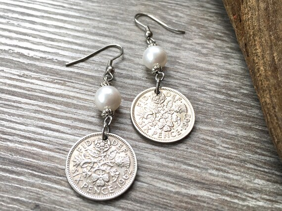 Long sixpence and pearl earrings, 1960, 1961 or 1962 choose coin year, a perfect 57th, 58th or 59th birthday or anniversary gift