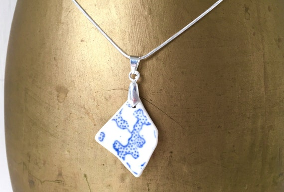 Sea washed china necklace, surf tumbled ceramic pendant,  recycled China necklace, Ocean pendant, blue pendant. Willow pattern