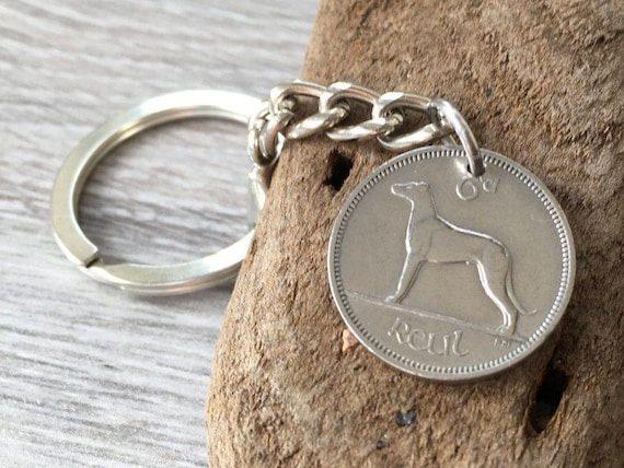 1948 Irish sixpence keychain, 71st birthday gift, vintage coin keyring, anniversary, retirement present, dog, lucky charm, present for him