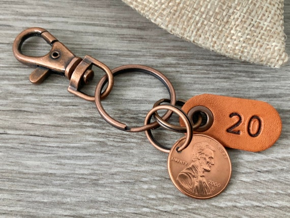 20th birthday or anniversary gift, 2000 or 2001 USA coin keychain, American one cent keyring, lucky penny clip, present for a man or woman