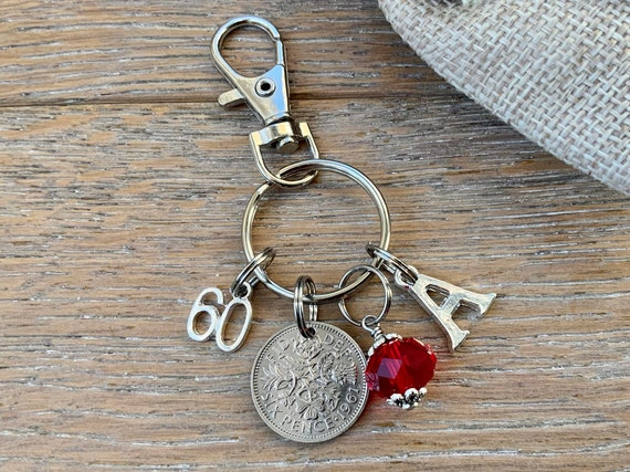 60th birthstone charm, 1961 sixpence bag clip, choose initial and birthstone colour, birthday or anniversary gift