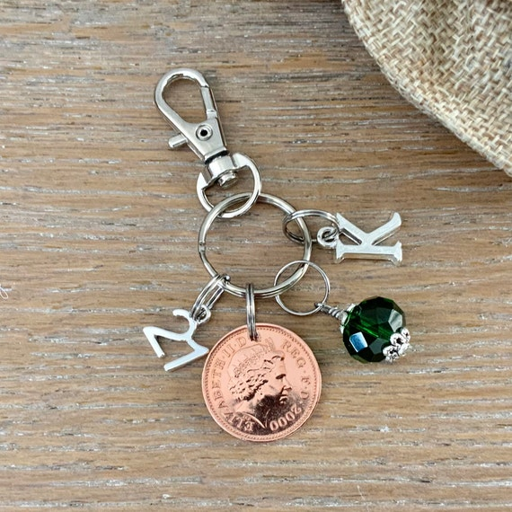21st birthday or anniversary lucky penny birthstone charm clip, 2000 UK coin charm or bag clip, choose initial and birthstone colour