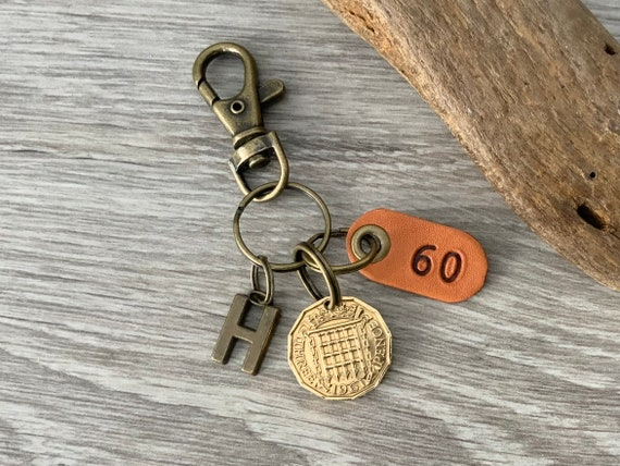 1961 British threepence keychain, keyring or clip, a great gift for a 60th birthday in 2021