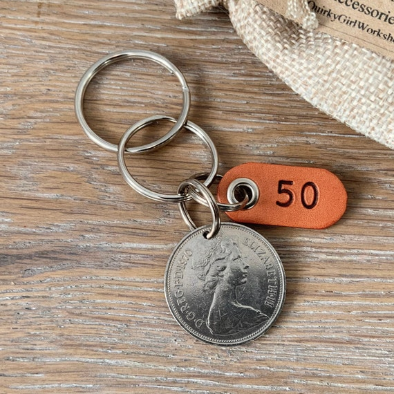 50th birthday gift, 1970 British ten pence coin keyring or clip, a perfect 50th anniversary gift