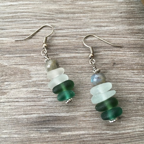 Sea glass and labradorite earrings, natural sea glass, boho beach glass jewellery, Cornish sea glass, gift for her, woman, wife
