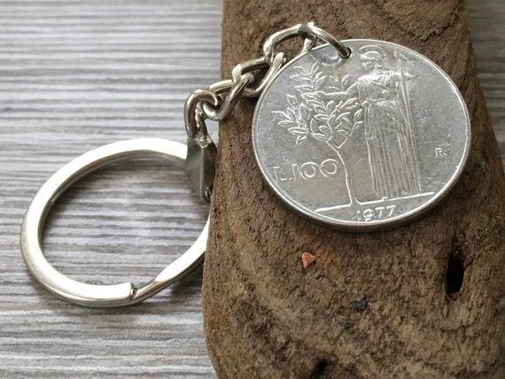 Italian coin keyring, 40th, 41st or 42nd birthday gift, 1977, 1978 or 1979 Italy keychain, 100 Lire key fob, anniversary  present