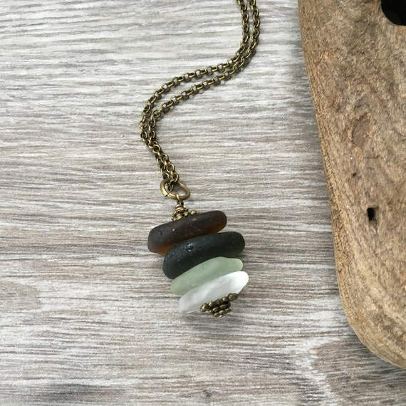 Sea glass necklace, beach glass pendant, long layering, bohemian jewelry, romantic, unique unusual gift, boho fashion, hippie style,