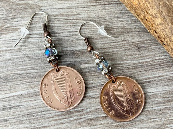 Irish penny long dangle earrings, Eire Ireland present, 40th anniversary gift for her, woman, wife, choose year 1979, 1980, 1982, 1986, 1988