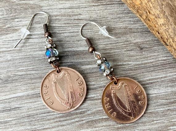 Irish penny long dangle earrings, Eire Ireland present, choose year 1971, 1975, 1976, 1979, 1980, 1982, 1986, 1988 or 1990